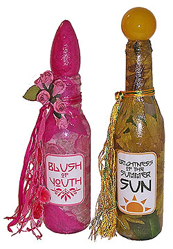 Decoupaged Glass Bottles