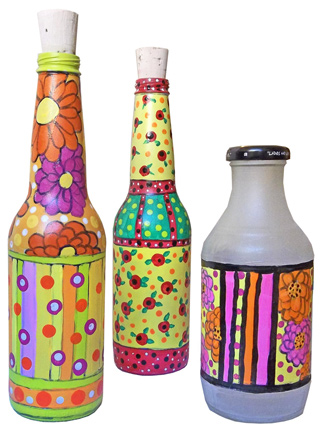 Recycled art go make something for How to paint bottles with acrylic